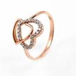 """Auksinis moteriškas žiedas """"Dvi širdelės"""" Ž0256"""