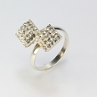 Sidabrinis moteriškas žiedas su swarovskio kristalais