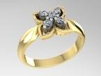 Sužadėtuvių žiedas su deimantais 5x0,03 ct KASZ 62