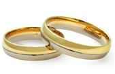 Vestuviniai Žiedai balto/raudono aukso 5 mm 10 gr KAV052