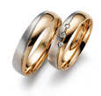 Vestuviniai Žiedai dviejų spalvų aukso įstriži 5 mm 10 gr KAV058