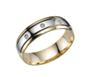 Raudono/balto aukso Vestuviniai Žiedai su akutėmis 6 mm 12 gr KAV031