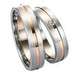 Raudono/balto aukso Vestuviniai Žiedai su akute 6 mm 14 gr KAV025