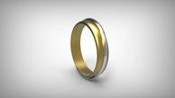 Vestuviniai žiedai raudono aukso su balta juostele 5 mm 10 gr KAV006